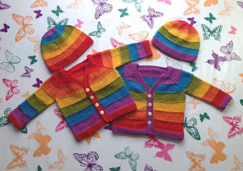 Equality Stripe Cardigan and Hat
